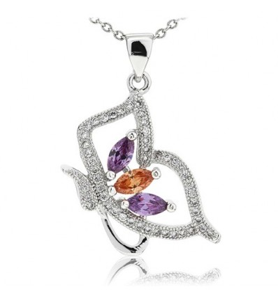 Colier din Argint Diamond Spring Butterfly