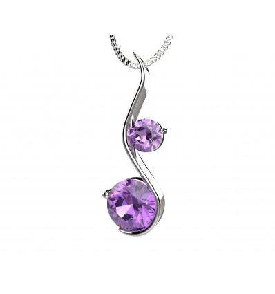 Colier din argint cu cristale violet cubic zirconia Gentle Crystals