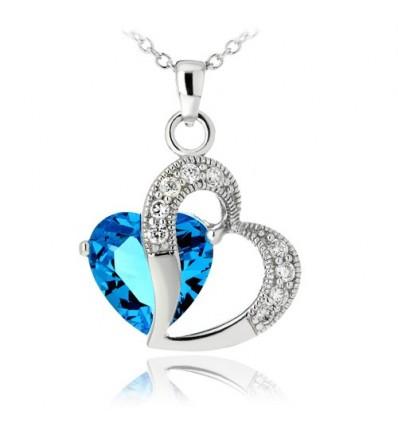 Colier din argint Blue Diamond In Love
