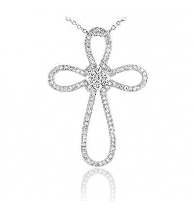 Colier Fine Luxury Silver Cross Argint 925