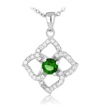 Colier Lucky Clover Emerald Silver 925
