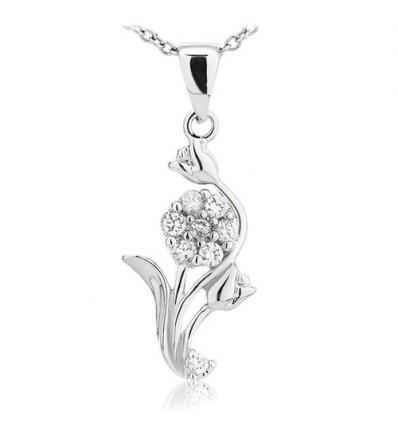 Colier din argint cu cristale cubic zirconia Spring Bouquet