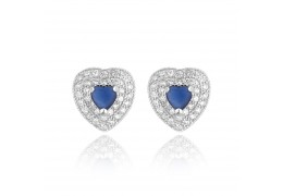 Cercei din argint Blue Diamond Heart