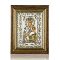 Icoana Bizantin-Ortodoxa Argint 999 -  Fecioara Maria Portaitissa 46 x 36 cm