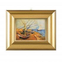 "Tablou pe foita de aur ""Barci de pescuit pe plaja de la Saintes-Maries"" Vincent Van Gogh"