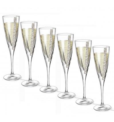 Set de 6 pahare de sampanie cu cristale by Chinelli