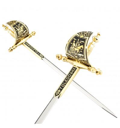 Sabie - cutit de corespondenta incrustat cu fir de aur de 24 kt