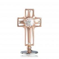 Cruciulita aur roz si cristale Swarovski