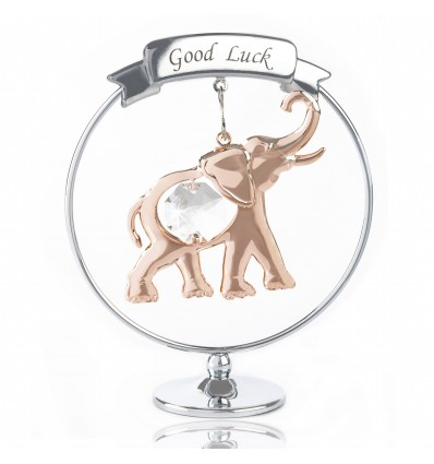 """Good luck"" Elefantel aur roz si Swarovski Elements"