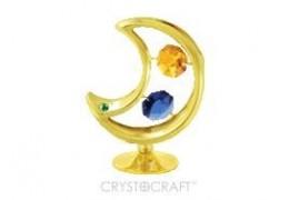 Luna cu cristale Swarovski, placata cu aur