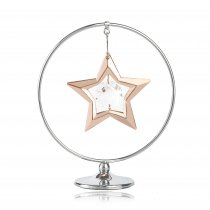 "Stea cu aur roz si cristale Swarovski in cerc ""Lucky star"""