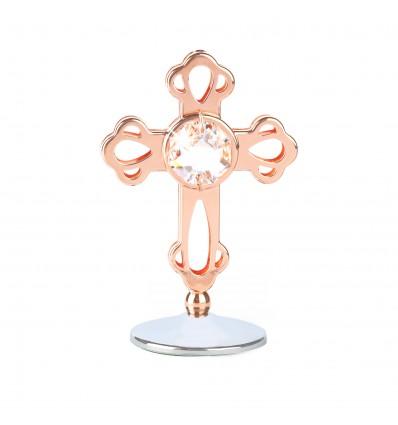 Cross - cruciulita aur roz cu Swarovski Elements