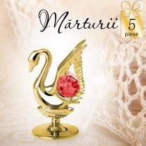 Lebada aurie cu cristale Swarovski - oferta de 5 marturii nunta