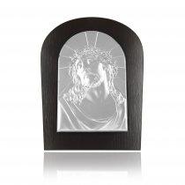Icoana argintata Iisus pe lemn wenge
