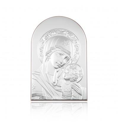 Icoana argintata cu Maica Domnului si pruncul Iisus