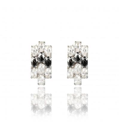 "Cercei cu cristale cubic zirconia ""Black&White Sparkles"" PARURE Milano"