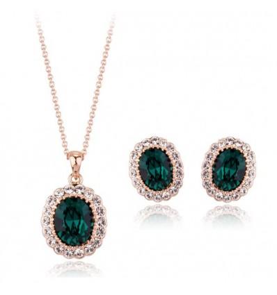 """Set de colier si cercei """"Emerald Drops"""""""