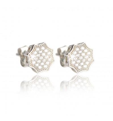 Cercei din argint cu cristale Octogon
