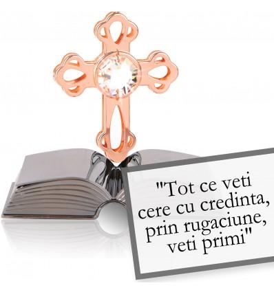 """Cruciulita cu Swarovski Povestea Bibliei - """"Tot ce veti cere cu credinta, prin rugaciune, veti primi. (Matei 21:22)"""""""