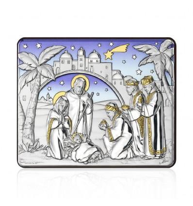 Icoana pe foita de argint cu Nasterea Domnului 15 x 12 cm