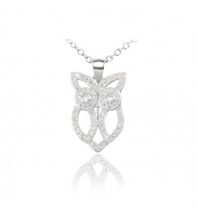 """Colier din argint cu cristale """"Brilliant Owl"""""""