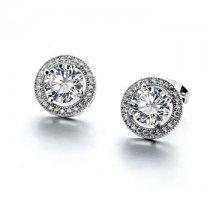 """Cercei cu cristale """"Round Diamond"""""""
