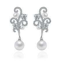 """Cercei cu cristale si perle """"Perfect Pearl"""""""