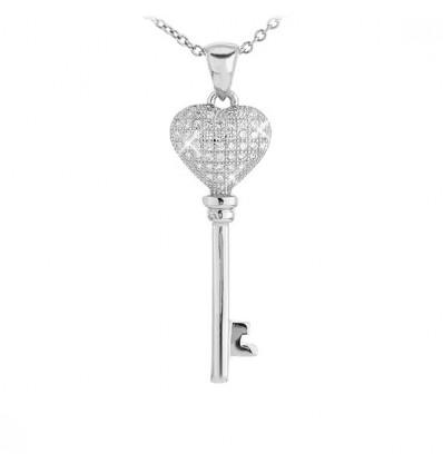 """Colier din argint cu cristale """"Heart Key"""""""