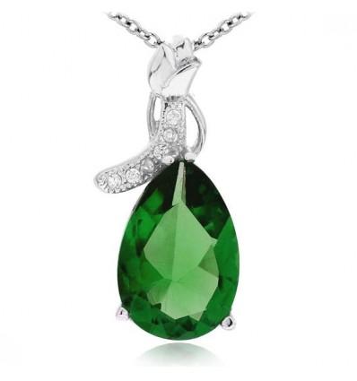 """Colier din argint cu cristale """"Emerald Drop"""""""
