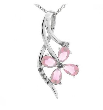 "Colier din argint cu cristale ""Precious Blossom"""