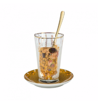 "Pahar Latte macchiato cu lingura si farfurie ""The Kiss"" Klimt - Goebel"