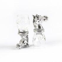 "Set argintat de pahare pentru vodca ""Horse Blue"" by Chinelli Italy"