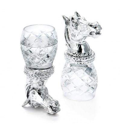 "Set argintat de pahare pentru vodca ""Quadri Horse Blue"" by Chinelli Italy"
