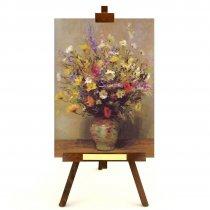 """Tablou pe sevalet """"Vaza cu flori multicolore"""""""