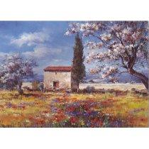 """Tablou pe sevalet """"Casa in camp cu flori"""""""