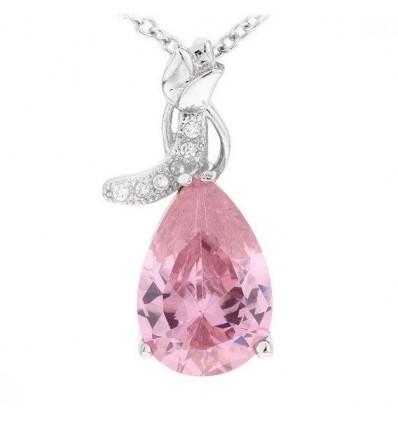 """Colier din argint cu cristale """"Pink Drop"""""""
