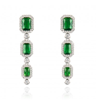"Cercei cu cristale Swarovski ""Emerald Brilliance"" - PARURE Milano"