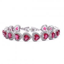 "Bratara cu cristale Swarovski ""Heart Shaped Simulated Ruby"""