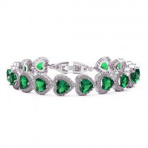"Bratara cu cristale Swarovski ""Heart Shaped Simulated Emerald"""