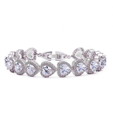 "Bratara ""Heart Shaped Simulated Diamonds"""