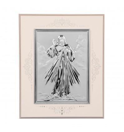Icoana pe foita de argint cu Iisus - 16 cm x 14 cm