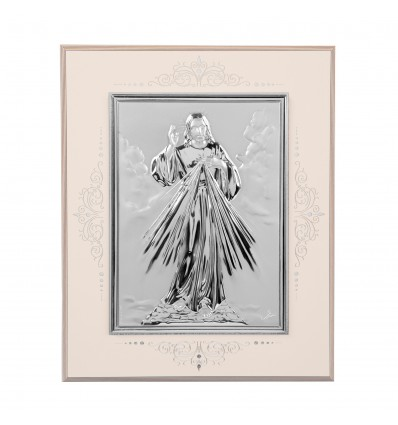 Icoana pe foita de argint cu Iisus - 24 cm x 19 cm