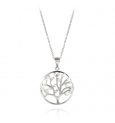 """925 Silver Necklace with """"Tree of Life"""" crystals"""