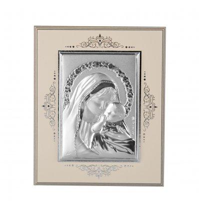Icoana pe foita de argint cu Maica Domnului si Pruncul - 10 x 8.5 cm