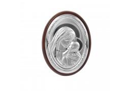 Iconita pe foita de argint cu Maica Domnul si Pruncul - Marturie botez