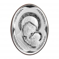 Icoana argintata cu Fecioara Maria si Pruncul