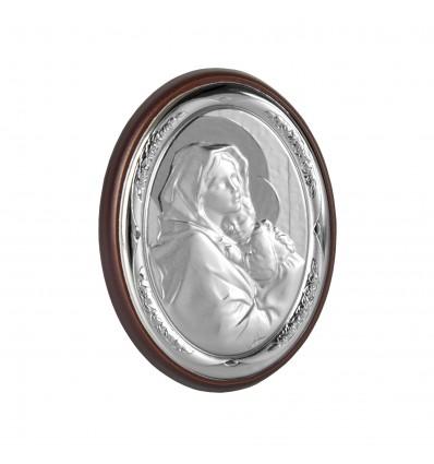 Icoana argintata cu Maica Domnului si Pruncul