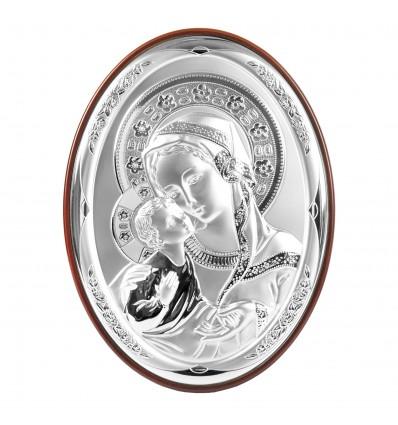 Icoana argintata cu Maica Domnului si Pruncul - 24 x 30 cm