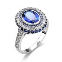 "Inel cu cristale ""Round Sapphire Glow"""