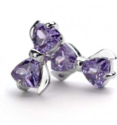 """Cercei din argint 925 """"Purple Bow"""""""